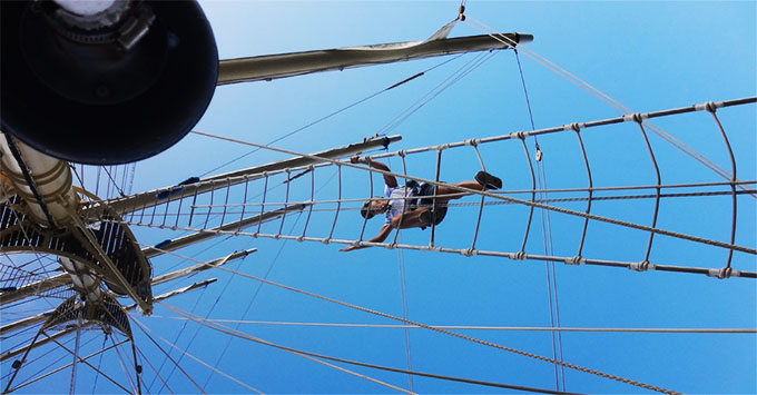 Climbing the mast on Star Clipper