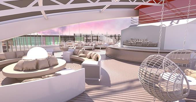 Artist rendering of the Virgin Voyages Athletic Club