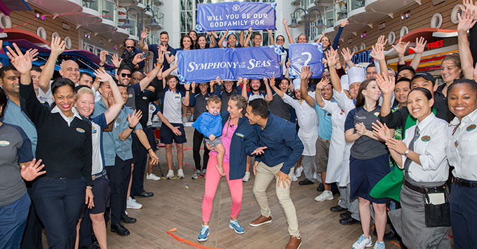 Actors and avid Royal Caribbean fans Carlos and Alexa PenaVega, along with their 17-month-old son, Ocean, have accepted the honor to be Godfamily of the cruise line's newest ship, Symphony of the Seas.