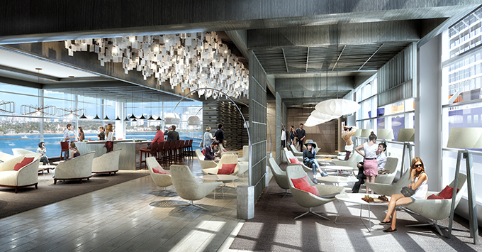 Rendering of Terminal 25 lounge with big windows and passengers sitting in chairs