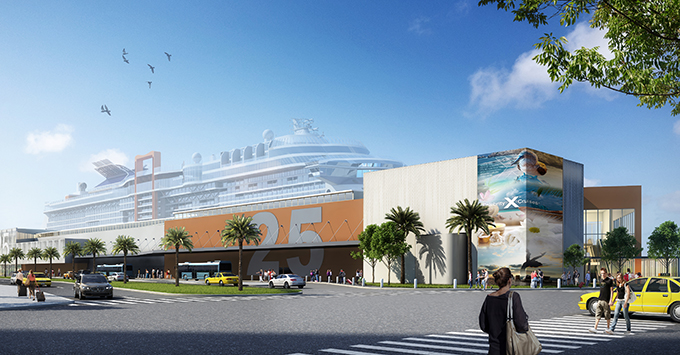 Rendering of Terminal 25 with cruise ship in background