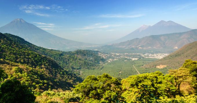 Three volcanoes: Agua, Fuego & Acatenango, near Antigua, Guatemala, Central America
