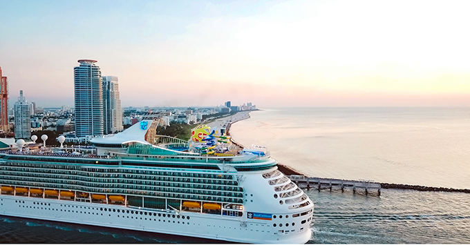 Cruise ship docked in Miami at Sunrise