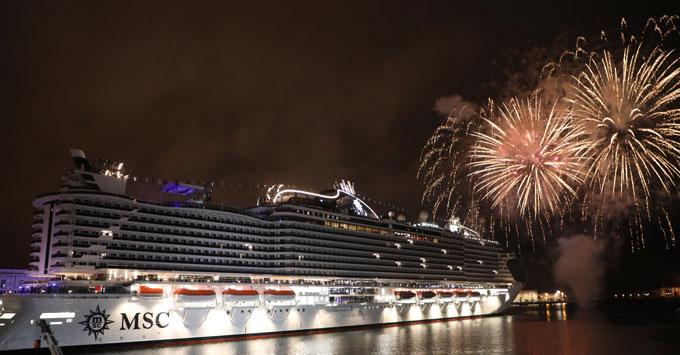 MSC Seaview Christening in Genoa fireworks