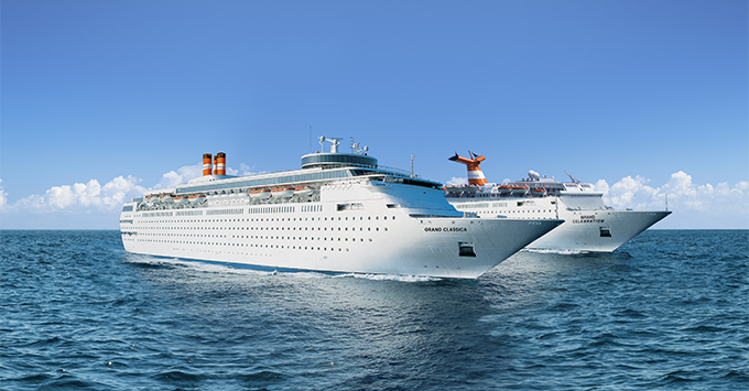 Exterior shot of Grand Celebration and Grand Classica at sea