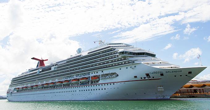 Exterior shot of Carnival Splendor in port