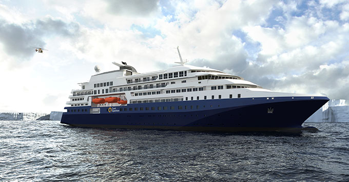 Artist rendering of Quark Expedtions' new cruise ship to be launched in 2020