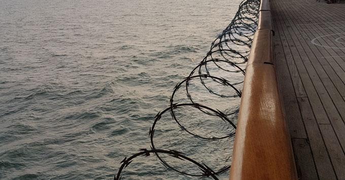 Razor Wire on Promenade Deck Fred. Olsen Black Watch