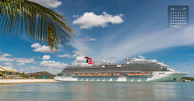 Carnival Horizon docked in a Caribbean port