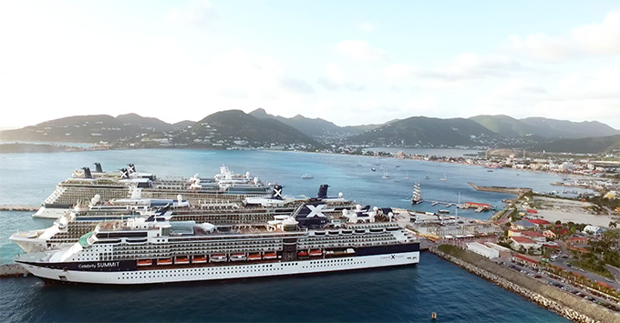 Celebrity Cruises ships docked in port