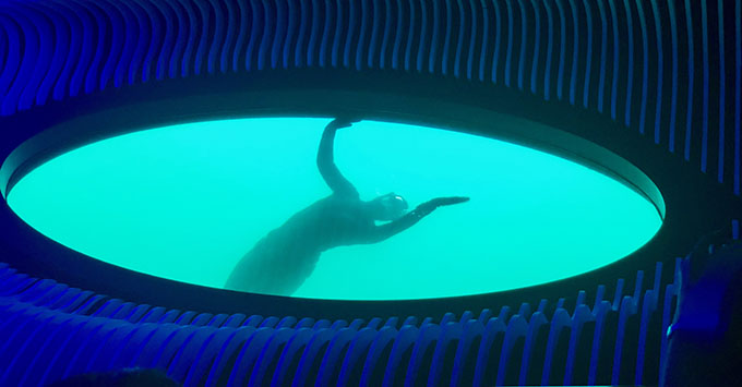 A french diver greets the guests in the Blue Eye Lounge on Le Laperouse