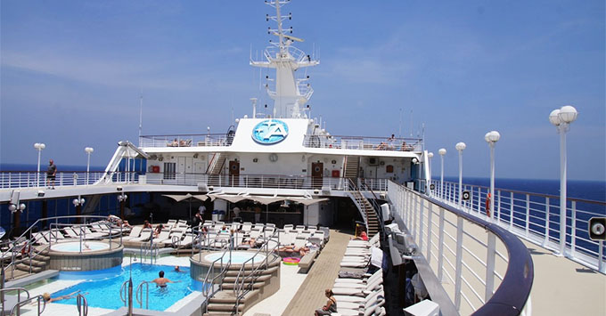 The pool deck on Azamara Quest