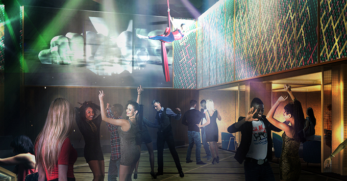 Rendering of club with people dancing beneath aerial acrobatics performer