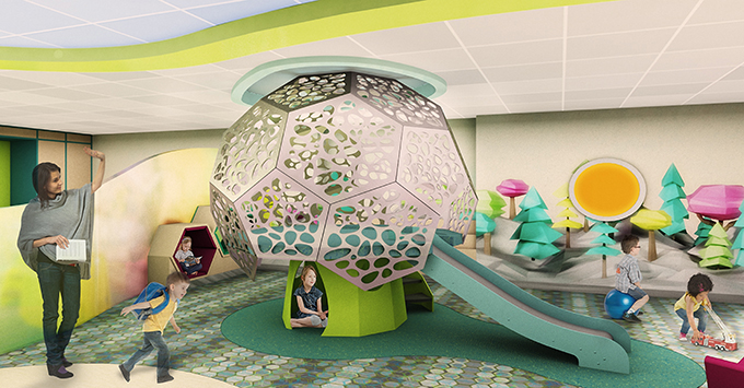 Rendering of kids' club with slide
