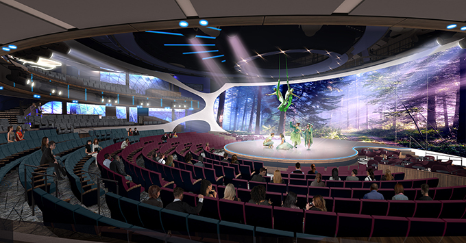 Rendering of theater with seats surrounding stage