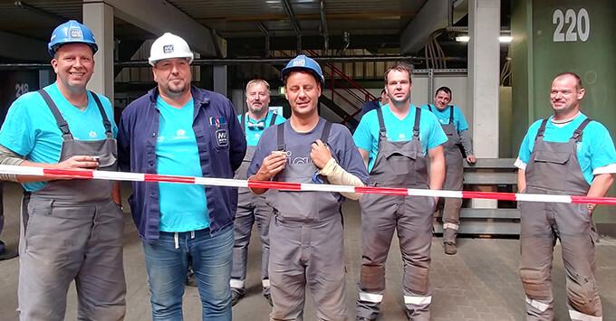 Shipwrights at the MV Werften's Stralsund shipyard in Germany