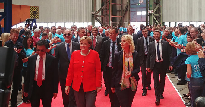 German Federal Chancellor Doctor Angela Merkel making a red carpet appearance at the keel laying of Crystal Endeavor