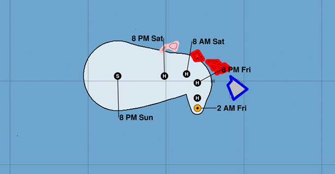 NHC graphic of Hurricane Lane