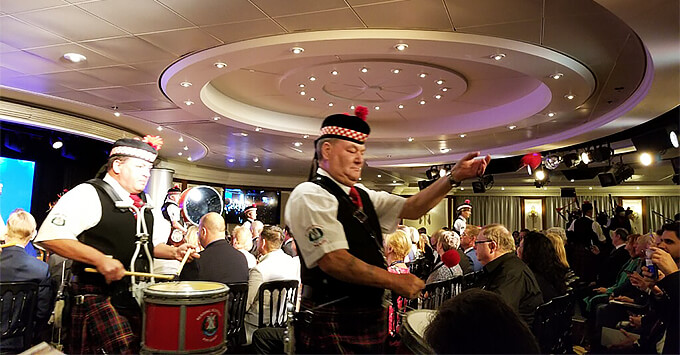 The Reading Scottish Pipe Band performing at the Azamara Pursuit christening