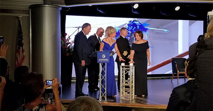 Richard Fain, Larry Pimentel, Lucy Huxley, Captain Carl and Ellen Asmodeo-Giglio at the Azamara Pursuit christening