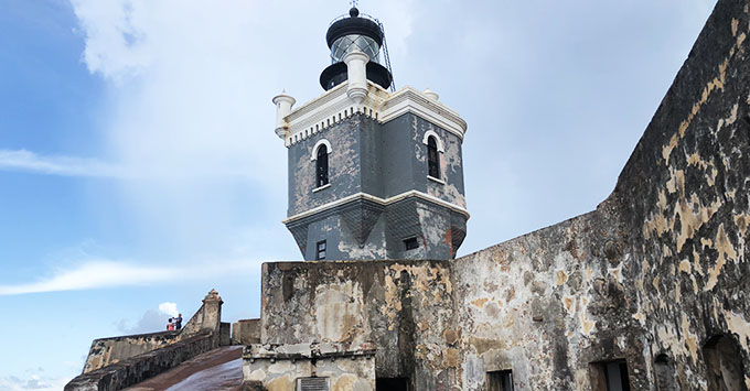 The lighthouse at historic landmark El Morro