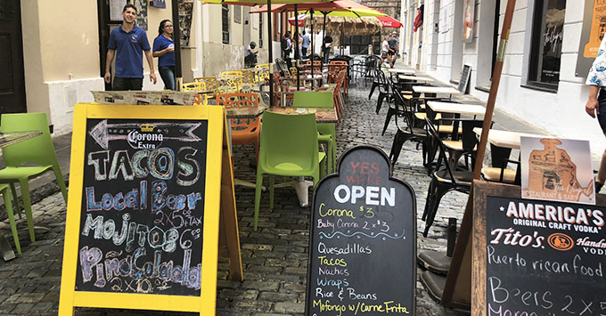 Plenty of restaurants are open and ready to serve in San Juan