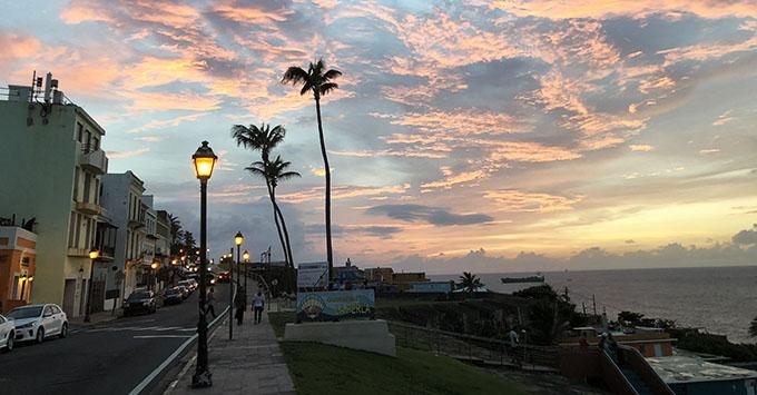 The sun setting over La Perla, a barrio in Old San Juan