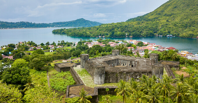 Aerial view of Banda Neira in Indonesia, with a pentagonal fort built by dutch during the spices war, Maluku, Indonesia
