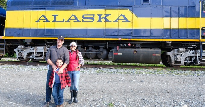 Veena and her family on an Alaska railroad tour