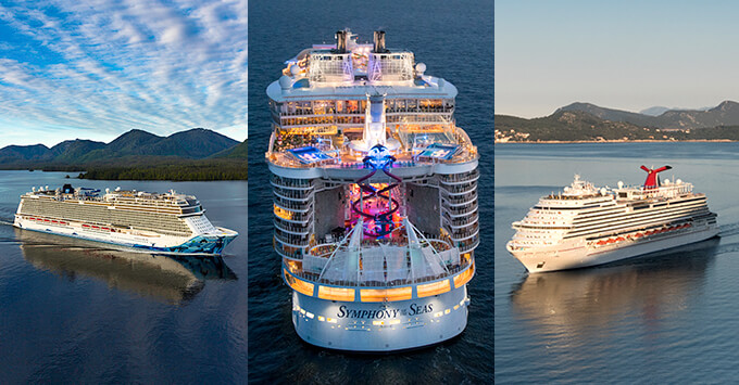 Composite photo of Norwegian Bliss, Symphony of the Seas and Carnival Horizon