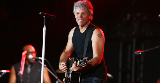 Jon Bon Jovi performing in concert