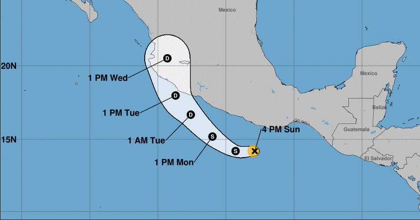 Hurricane Willa cone forecast