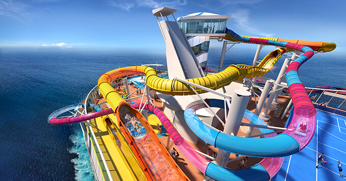 The new waterslides on the refurbished Navigator of the Seas