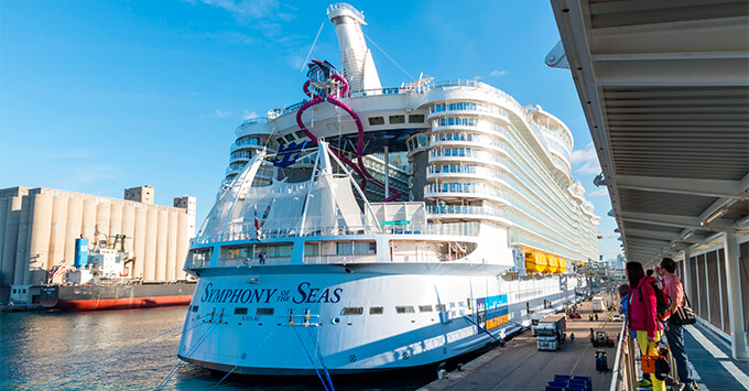 Exterior shot of Symphony of the Seas in Barcelona