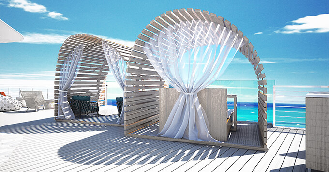 Rendering of Celebrity Flora glamping cabanas