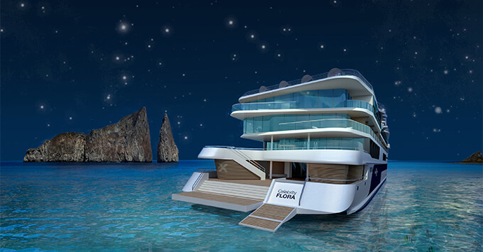 Rendering of Celebrity Flora with Galapagos night sky in the background