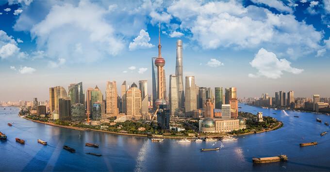 Shanghai skyline aerial shot