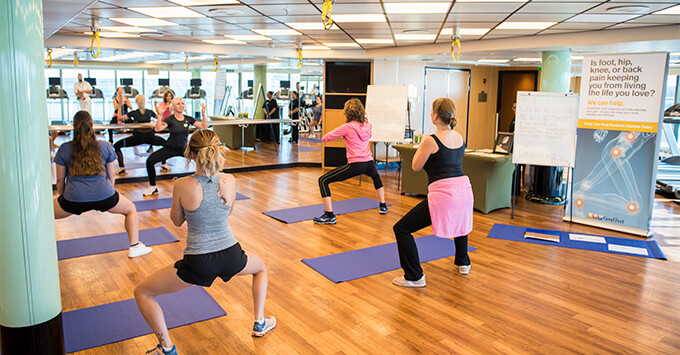 Fitness class on Sapphire Princess