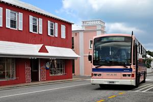 pink-bus-Bermuda-cruise-passengers