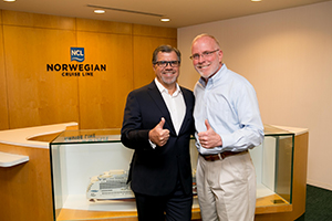 Kevin Sheehan and Frank Del Rio after Norwegian-Prestige merger