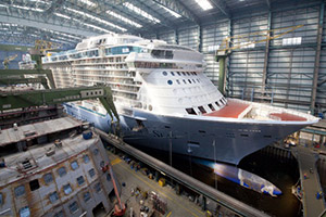 The Quantum of the Seas cruise ship being built in the Meyer Werft shipyard in Germany