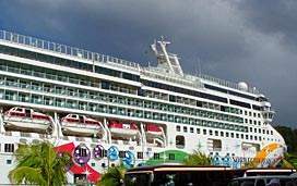 Norwegian Cruise Line's Norwegian Pearl Docked at a Tropical Port
