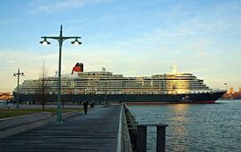 Cunard Line's Queen Victoria Docked in a Port