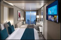 Deluxe Veranda Stateroom (partially obstructed view due to circular veranda frame opening)