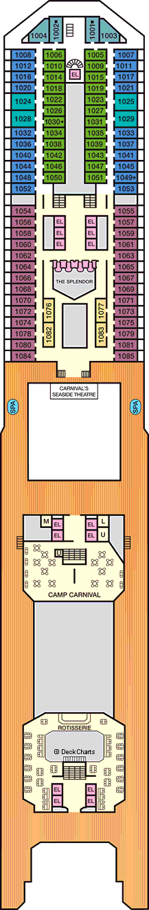 Carnival Splendor Deck Plans: Ship Layout, Staterooms & Map ... on carnival elation map, carnival fascination map, carnival ecstasy map, carnival pride map, carnival triumph map, miami carnival cruise western caribbean map, carnival liberty map, carnival cruise ship map, carnival freedom map, carnival breeze map, carnival cruise routes map, carnival port map, all carnival destinations on a map, norwegian getaway map, carnival conquest map, carnival dream map, carnival miracle map, carnival liberty itinerary, carnival paradise map, carnival sunshine map,