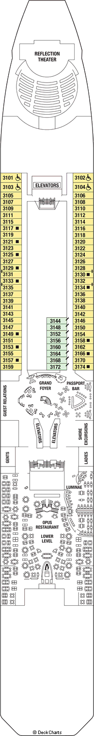 Oasis of the Seas Deck Plan: Deck 11 - Port Everglades