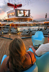 Carnival Liberty - This poolside screen uses the same LED technology as Times Square.