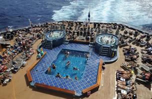 Carnival Splendor - Sunning on the aft pool deck