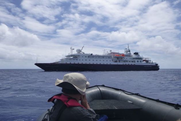 Cruise Critic member itravellux returning to Silver Discoverer after a Silversea-hosted shore tour in the South Pacific (Photo: itravellux/Cruise Critic Member)